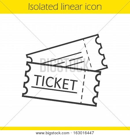Tickets linear icon. Thin line illustration. Cinema, flight or sport event tickets. Contour symbol. Vector isolated outline drawing