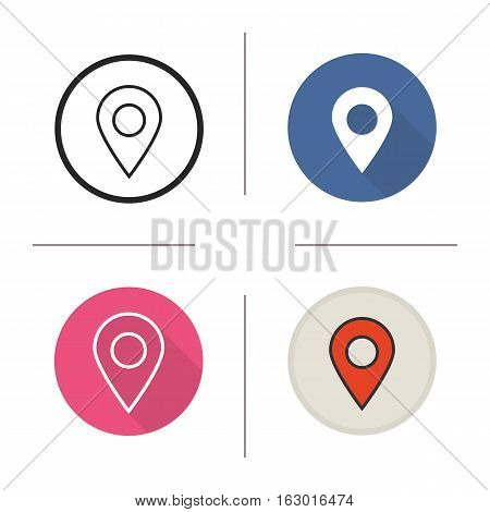 Pinpoint icon. Flat design, linear and color styles. Geo location mark. Location map pointer. Isolated vector illustrations