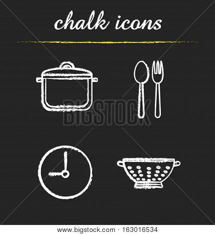 Kitchen items chalk icons set. Stew pan, fork and spoon, clock, kitchen sieve. Cooking isolated vector chalkboard illustrations