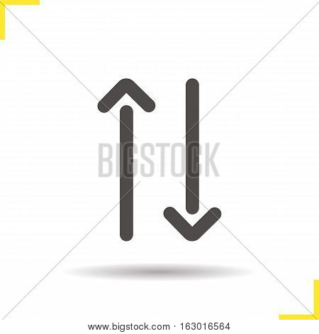 Up and down arrows icon. Drop shadow linear symbol. Opposite direction arrows. Vector isolated illustration