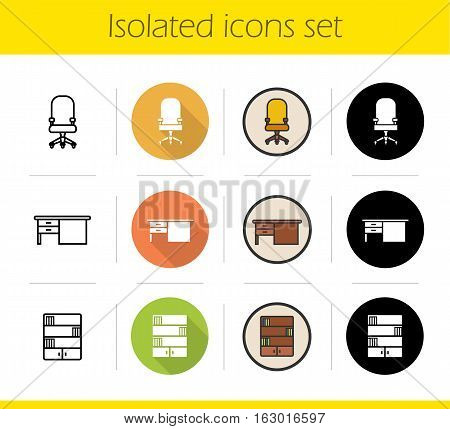 Furniture icons set. Flat design, linear, black and color styles. Computer chair on wheels, writing desk, bookcase. Isolated vector illustrations