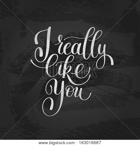 I Really Like You. Love Letter, Message Text English Handwriting Calligraphy, Handwritten Vector Illustration Black and White, Happy Valentines Day, 14 February Greeting for Lover Card
