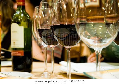 Glasses Of Wine In Restaruant