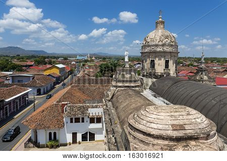 View of the colonial city of Granada in Nicaragua Central America from the rooftop of the La Merced Church (Iglesia de La Merced)