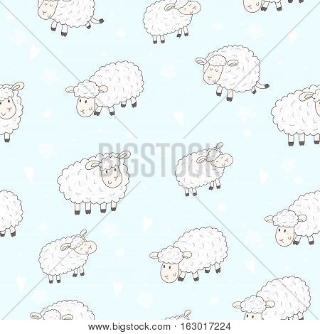 Cute seamless pattern with funny sheep. vector illustration.