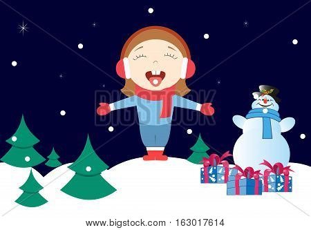 Girl enjoys the snow in winter. Near snowman with gifts.