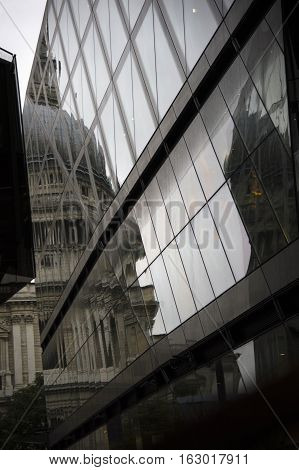 reflection of the dome of st.paul's in london