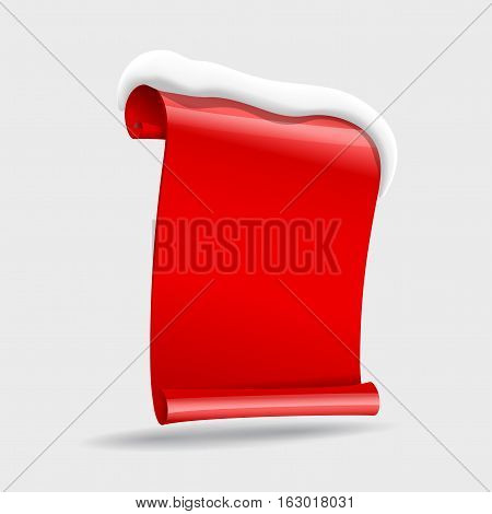 realistic Red paper banners wit snow. Vector illustration
