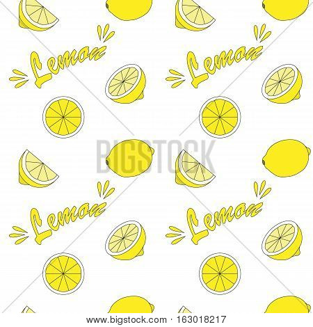 Lemon bright seamless background yellow and white colors.