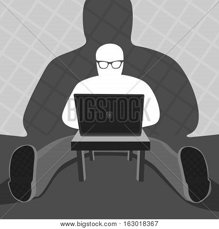 Anonymous User and Computer Vector Illustration eps 8 file format
