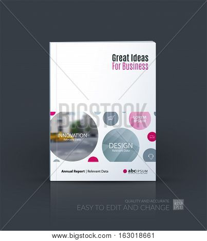 Business vector. Brochure template layout, cover design annual report, magazine, flyer in A4 with points circles dots for IT, business, beauty. Soft abstract art with overlay effect.