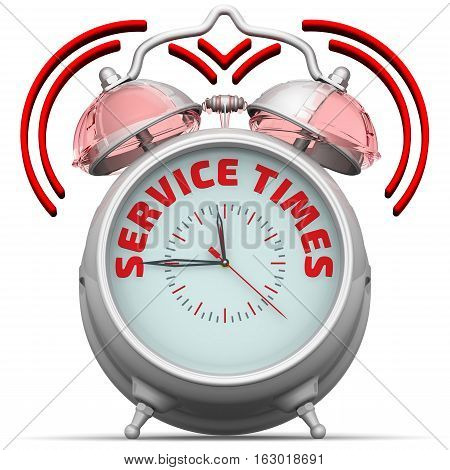 Service times. The alarm clock with an inscription. Alarm clock with the red words