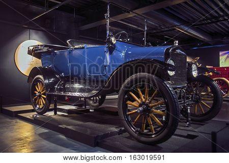RIGA LATVIA - OCTOBER 16: Retro car 1919 of the year Ford model T Riga Motor Museum October 16 2016 in Riga Latvia