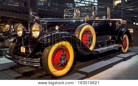 RIGA LATVIA - OCTOBER 16: Retro car of the year 1930 CADILLAC V8 series 353 Riga Motor Museum October 16 2016 in Riga Latvia