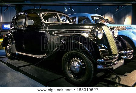 RIGA LATVIA - OCTOBER 16: Retro car of the year 1938 BMW 326 Riga Motor Museum October 16 2016 in Riga Latvia