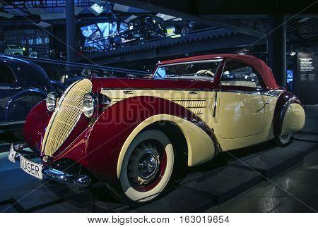 RIGA LATVIA - OCTOBER 16: Retro car of the year 1939 STEYR 220 glaser sport cabrio Riga Motor Museum October 16 2016 in Riga Latvia