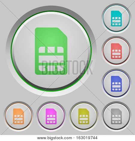 SIM card color icons on sunk push buttons