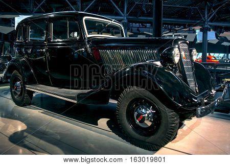 RIGA LATVIA - OCTOBER 16: Retro car of the year 1936 GAZ M1 Riga Motor Museum October 16 2016 in Riga Latvia