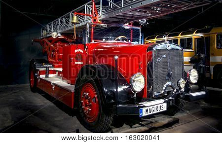 RIGA LATVIA - OCTOBER 16: Retro car of the year 1935 MAGIRUS M45L Motor Museum October 16 2016 in Riga Latvia