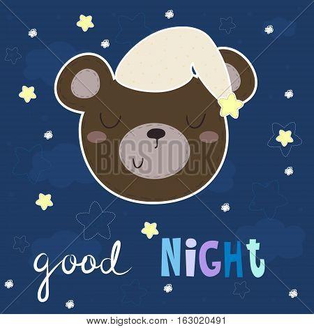 Good night vector card with cute bear. vector print.