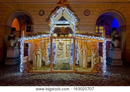 LVIV UKRAINE - DECEMBER 22: Symbol of Christmas in the center of Lviv - nativity scene on Market Square on December 22 2016 in Lvov Ukraine