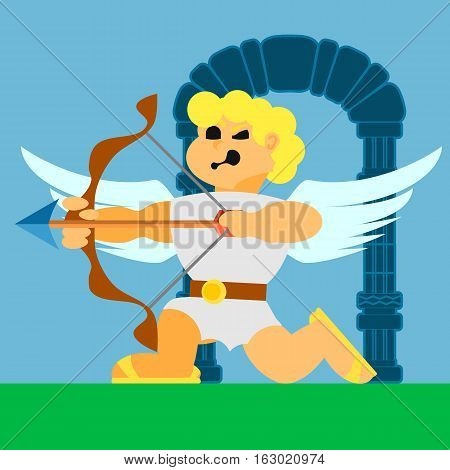 cupid flying angel with a bow vector flat icons