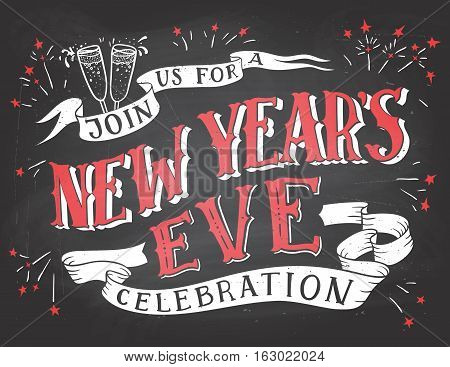 Join us for a New Year's Eve celebration. Holiday hand-lettering chalkboard invitation. Hand-drawn typography on blackboard background with chalk
