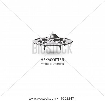 Isolated rc drone logo on white. UAV technology logotype. Unmanned aerial vehicle icon. Remote control device sign. Surveillance vision multirotor. Vector hexacopter illustration