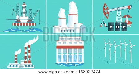 A set of buildings for electricity production. Gas and oil production. Hydroelectric, wind power, nuclear power