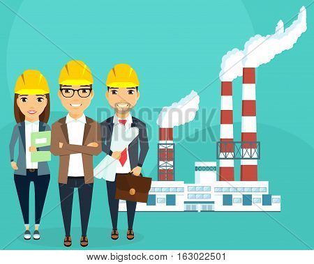Plant for the production of electricity. A young team of engineers. The concept of creating a plant for the production of electric energy. Happy people