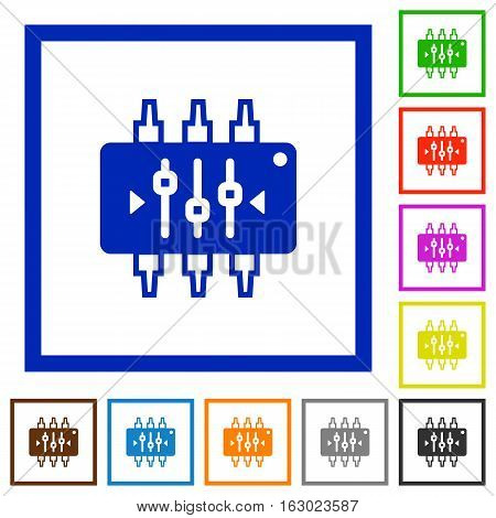Chip tuning flat color icons in square frames on white background