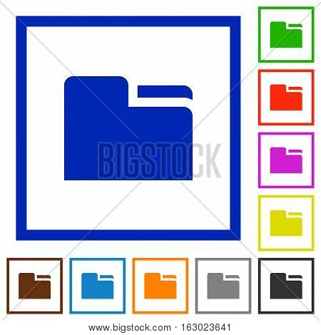 Tab folder flat color icons in square frames on white background