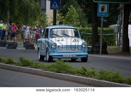TOTKOMLOS HUNGARY - JUNE 12 2011: Laszlo Bodnar in his Trabant 1.1 at the II. Totkomlos Rally on June 12 2011 in Totkomlos Hungary.