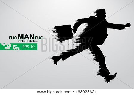 Silhouette of a running man. Text and background on a separate layer, color can be changed in one click. Vector illustration