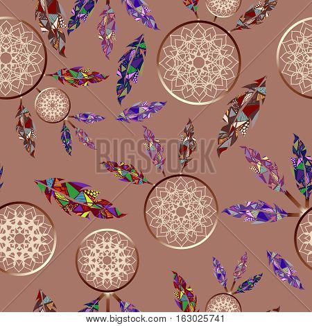 Seamless indian dreamcatchers abstract feathers pattern beige background