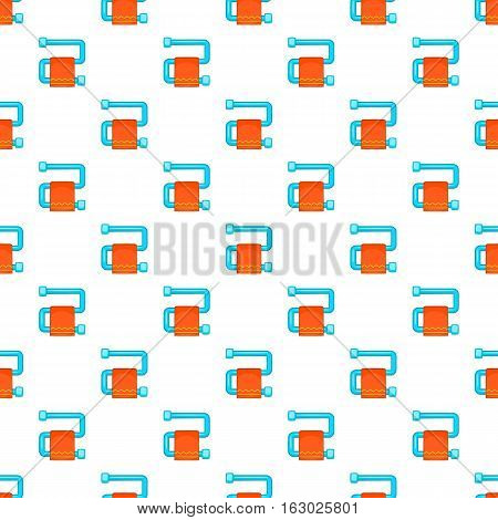 Heated towel rail with orange towel pattern. Cartoon illustration of heated towel rail vector pattern for web