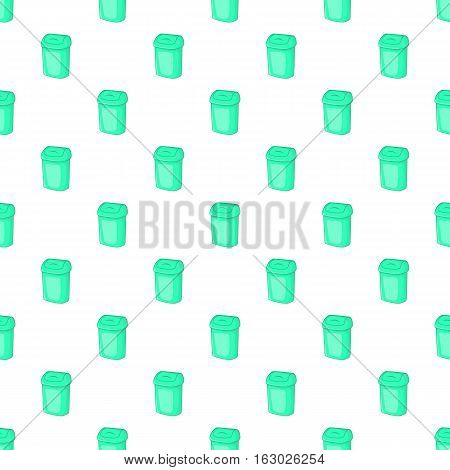 Turquoise trash can pattern. Cartoon illustration of turquoise trash can vector pattern for web