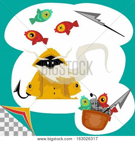 cartoon character of fisherman with his catch on layers