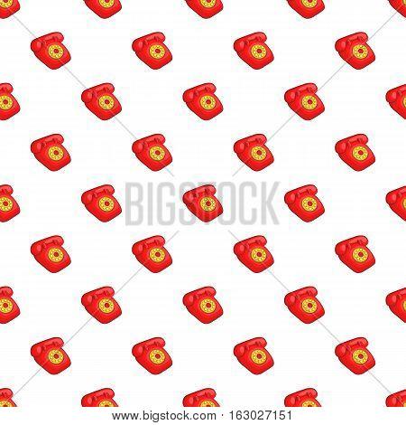 Red retro telephone pattern. Cartoon illustration of red retro telephone vector pattern for web