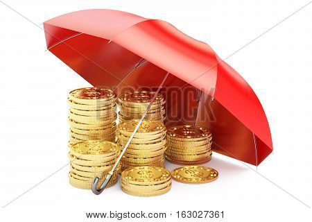 Stability and protection in financial business and insurance concept 3D rendering. Stacked golden coins covered by red umbrella isolated on white background