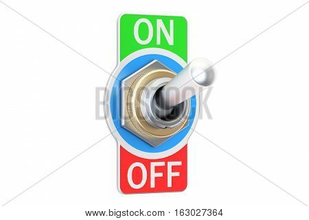 switch on and off 3D rendering isolated on white background
