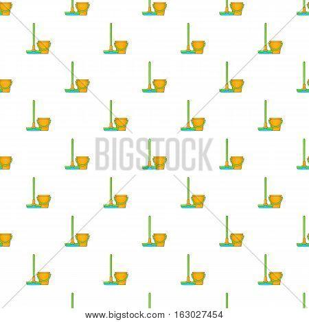 Orange bucket with mop pattern. Cartoon illustration of orange bucket with mop vector pattern for web