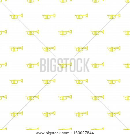 Brass trumpet pattern. Cartoon illustration of brass trumpet vector pattern for web