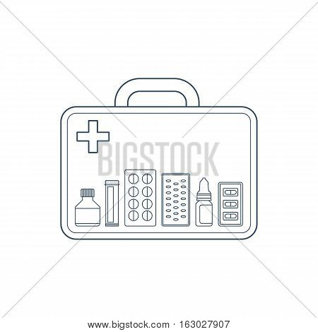 Vector illustration of medicine box with bottles of pills capsules and pills in blister drops and cross.