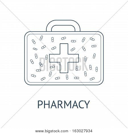 Clean design concept of medical aid care pharmacy. Vector illustration of medicine box with capsules.