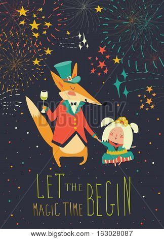 Gentleman fox with little princess. Vector greeting card