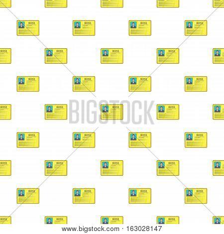 Boss business identification card pattern. Cartoon illustration of boss business identification card vector pattern for web
