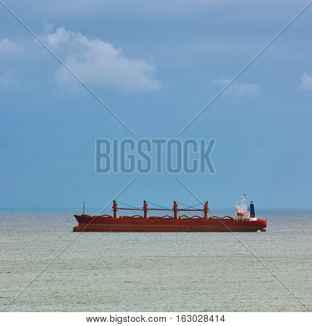 Dry Cargo Ship at Anchorage in the Black Sea Bay