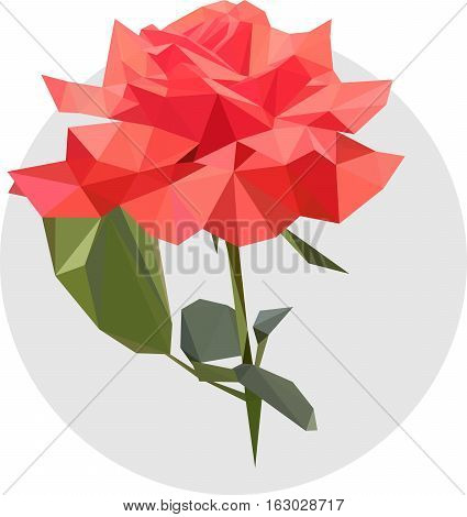 Pink rose in the style of the polygon. Fashion illustration of the trend in style on gray background. Gentle illustration flower with leaves.