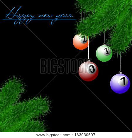 Billiard Balls On Christmas Tree Branch